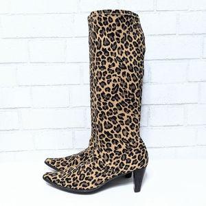 Vaneli Shoes - Vaneli Lilike Stretch Leopard Heeled Boots 8
